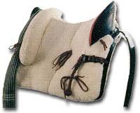 silla de montar vaquera moteada